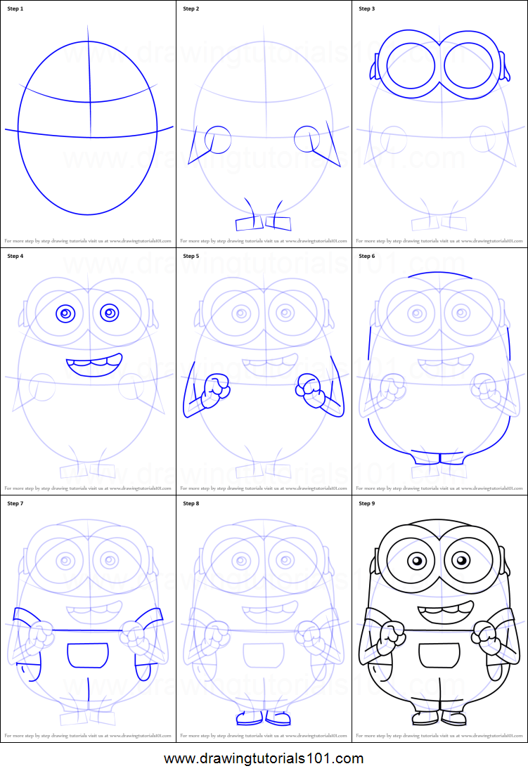 How To Draw Bob From Minions Printable Step By Drawing Sheet