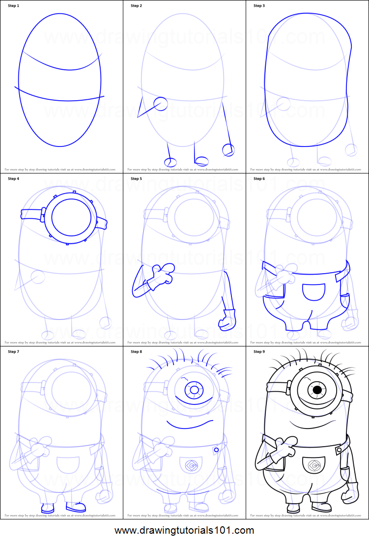 How to draw stuart from minions printable step by step for How to make cartoon drawings step by step