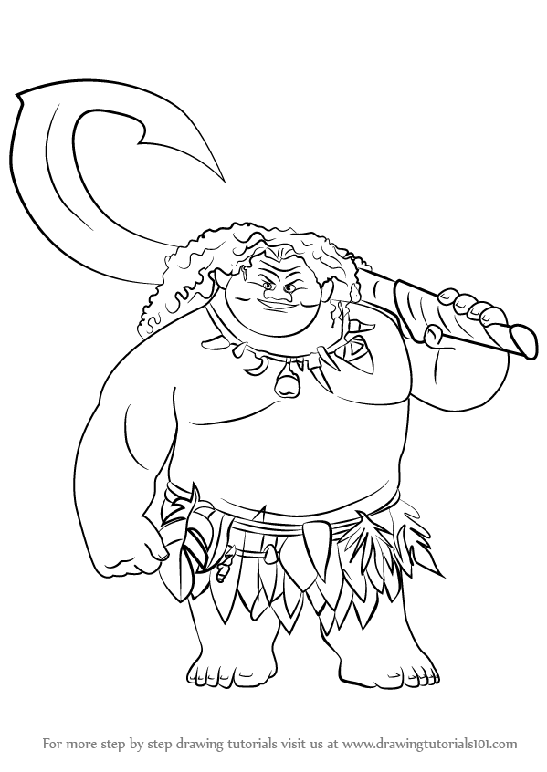 Step by Step How to Draw Maui from