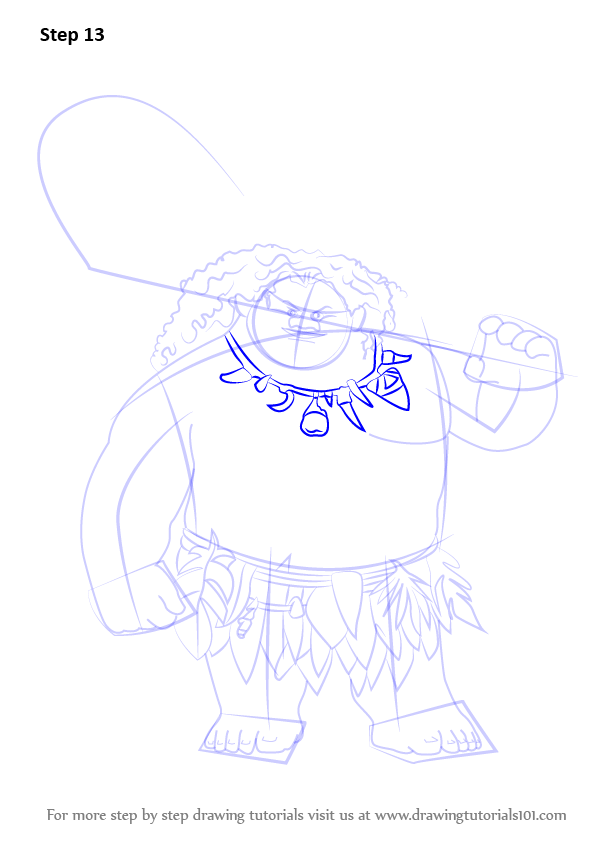 Learn How to Draw Maui from Moana (Moana) Step by Step : Drawing