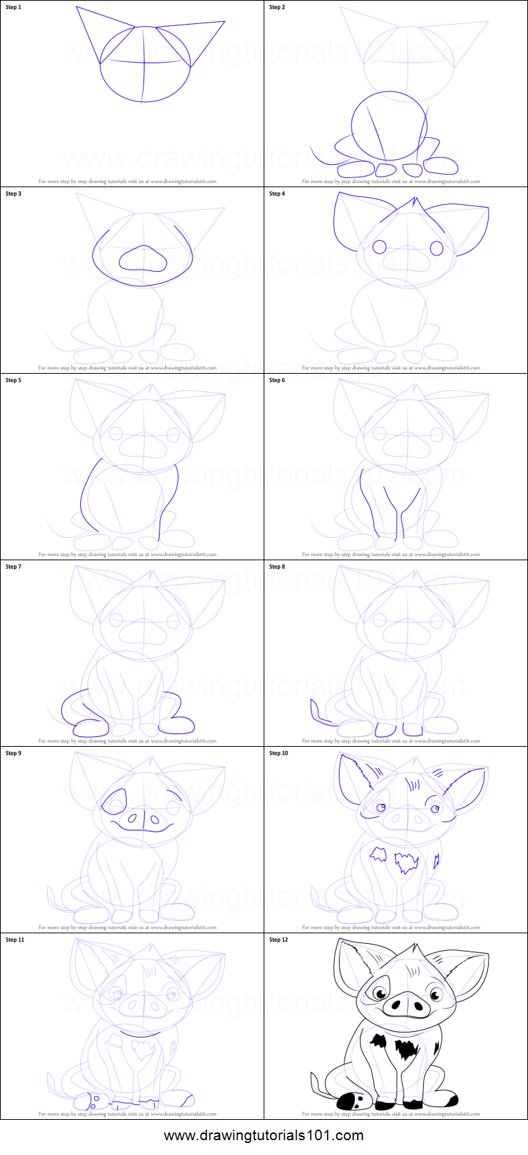 How to Draw Pua from Moana printable step by step drawing sheet ...