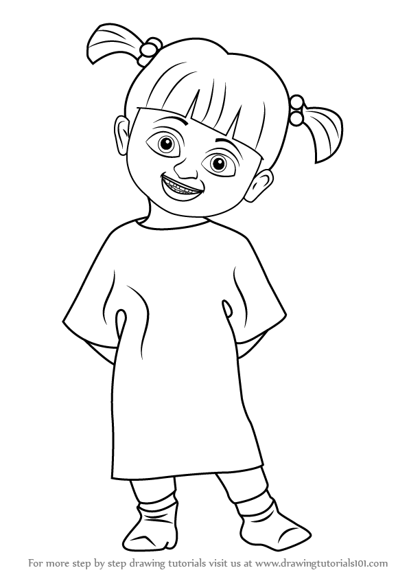 Learn How To Draw Boo From Monsters Inc Monsters Inc Step By Step Drawing Tutorials