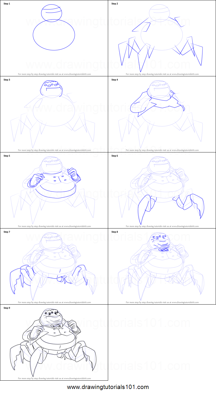 how to draw henry j waternoose iii from monsters inc printable step by step drawing sheet drawingtutorials101com