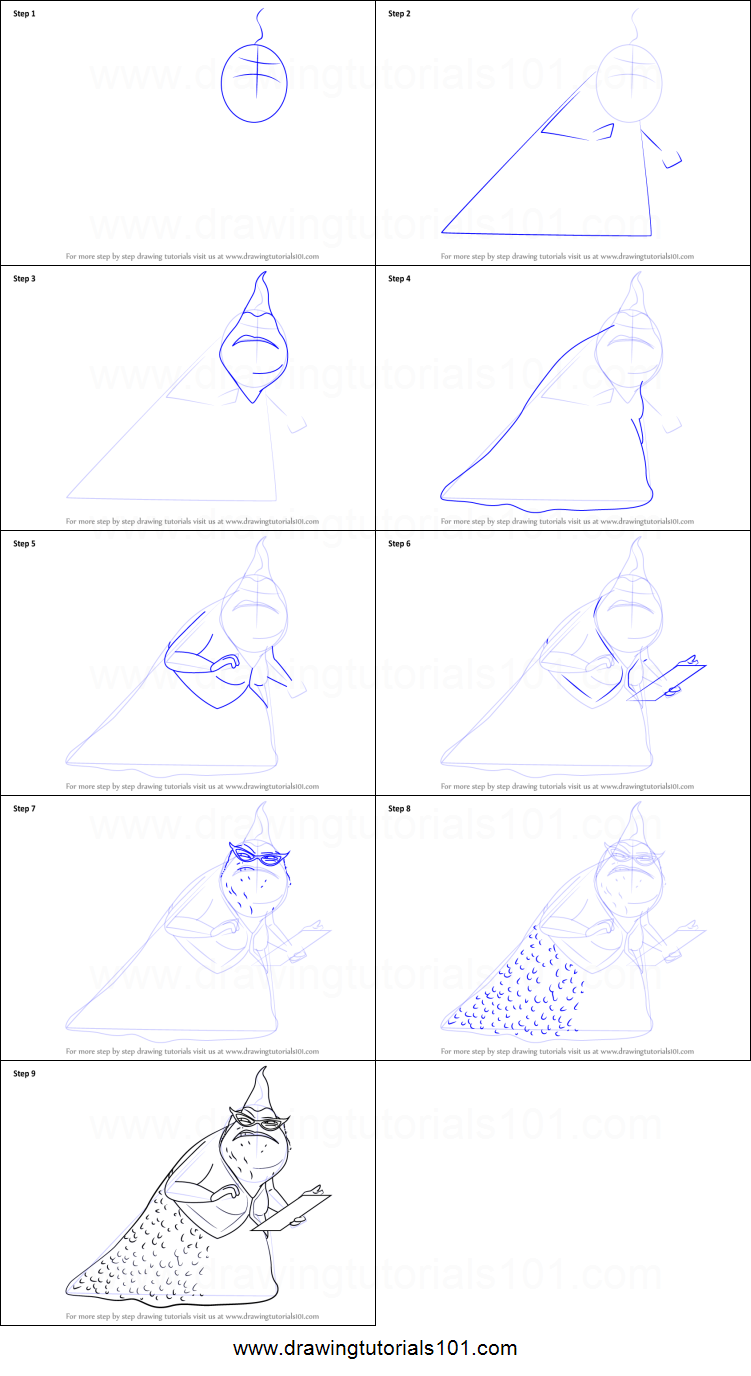 How to Draw Roz from Monsters, Inc printable step by step drawing