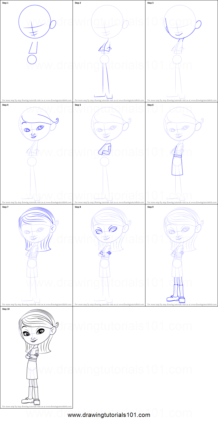 Step by step drawing tutorial on how to draw penny peterson from mr peabody sherman