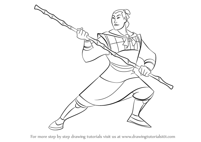 Learn How To Draw Li Shang From Mulan Mulan Step By Step Drawing Tutorials