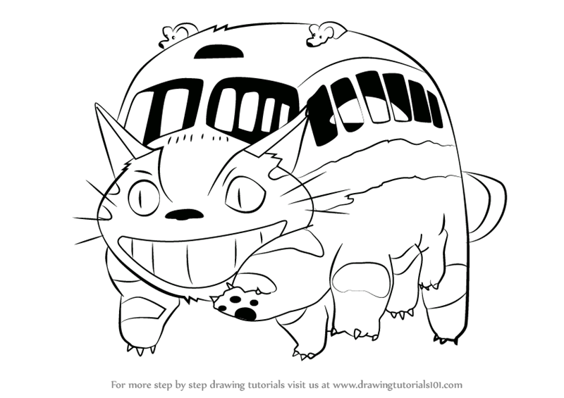 learn how to draw catbus from my neighbor totoro (my neighbor ... - Neighbor Totoro Coloring Pages