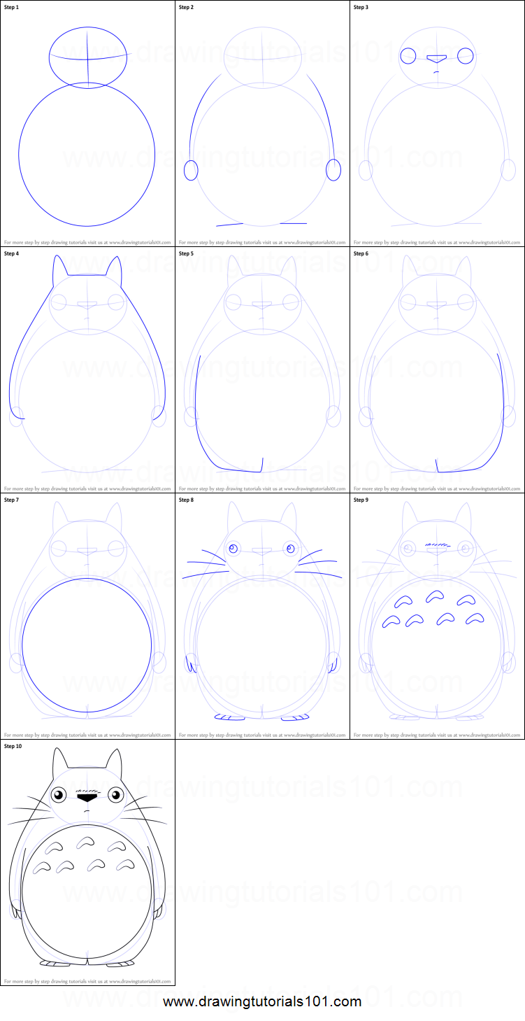 How to draw totoro from my neighbor totoro printable step for How to make doodle