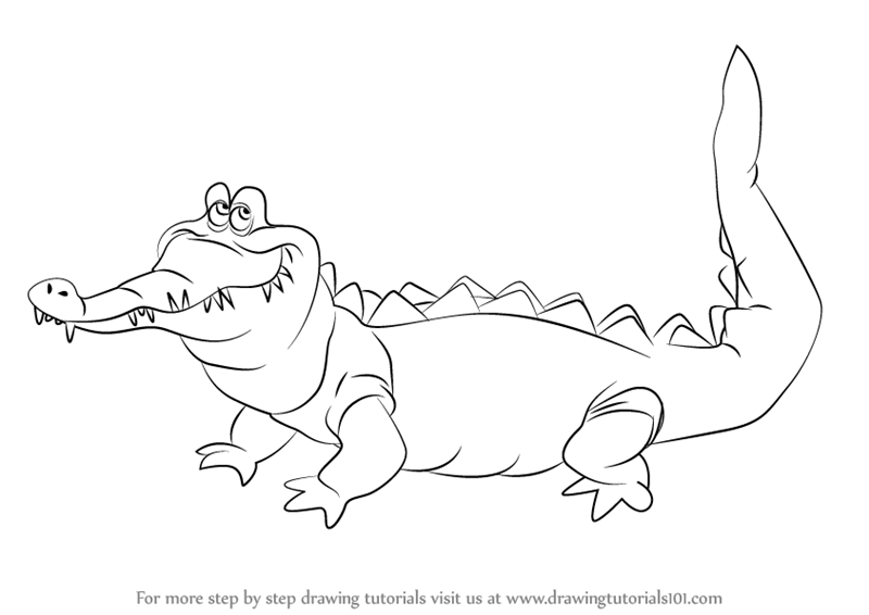 step by step how to draw the crocodile from peter pan