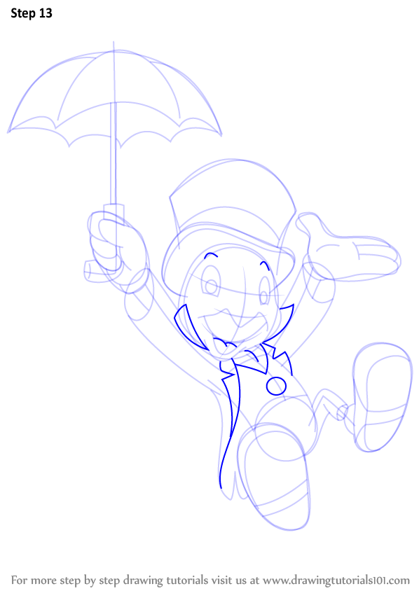 Step By Step How To Draw Jiminy Cricket From Pinocchio
