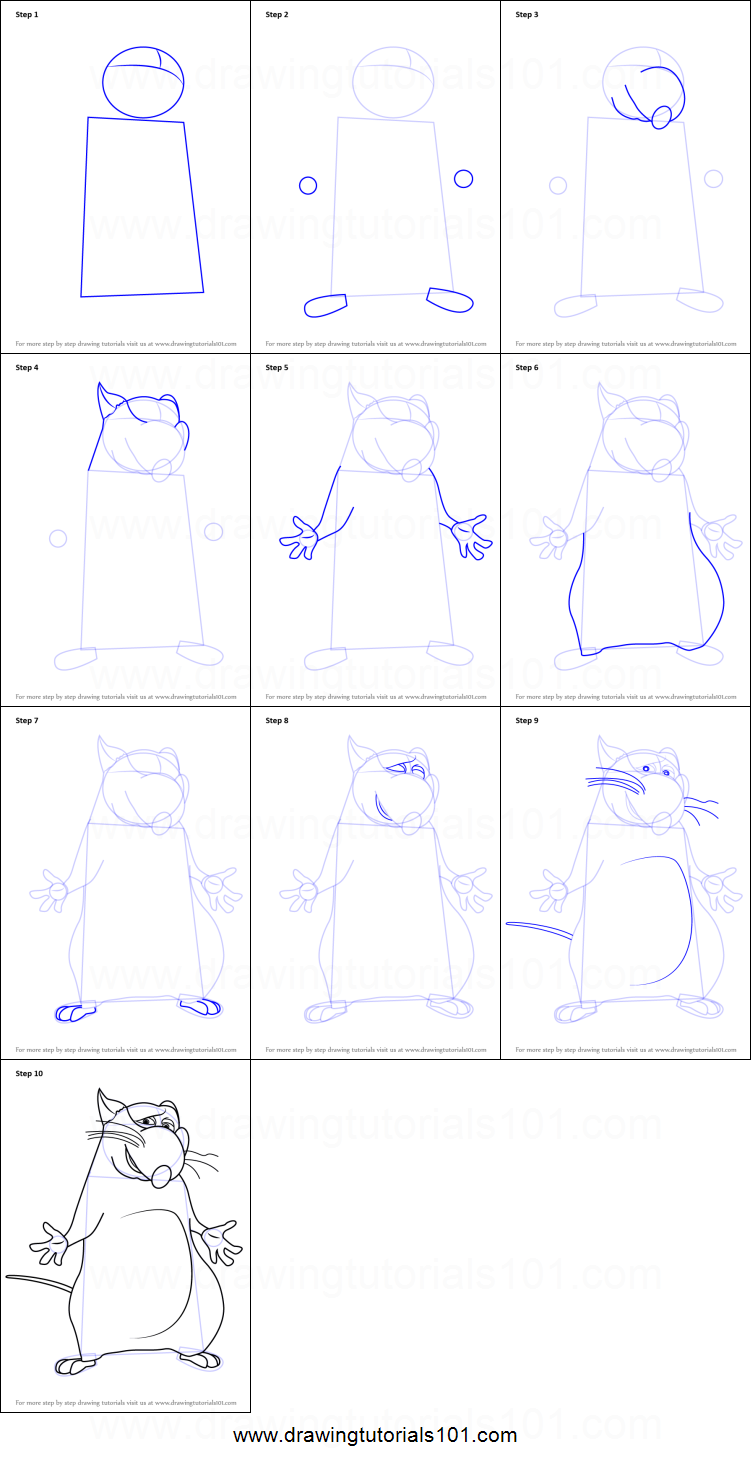 How To Draw Django From Ratatouille Printable Step By Step Drawing Sheet Drawingtutorials101 Com
