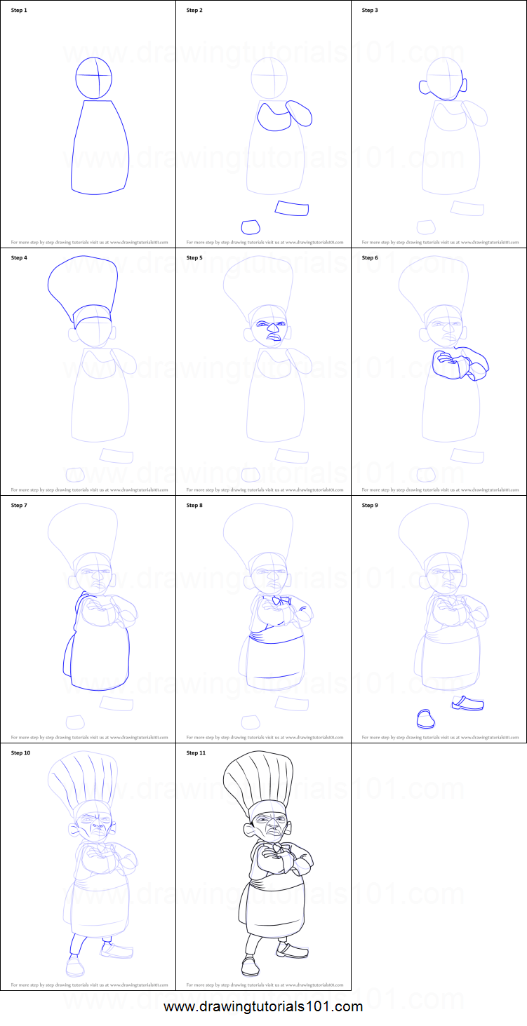 How To Draw Skinner From Ratatouille Printable Step By Step Drawing Sheet Drawingtutorials101 Com