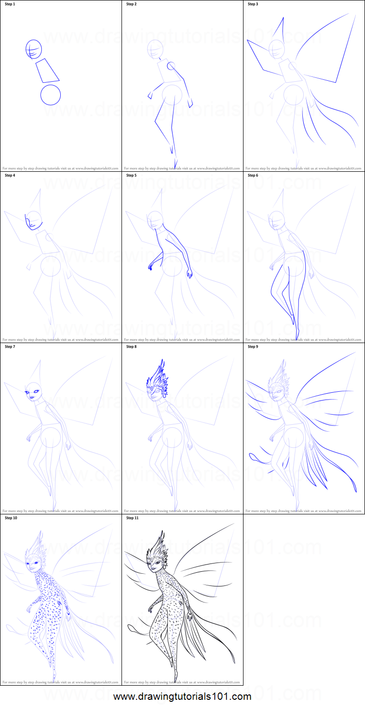 how to draw tooth fairy from rise of the guardians printable step