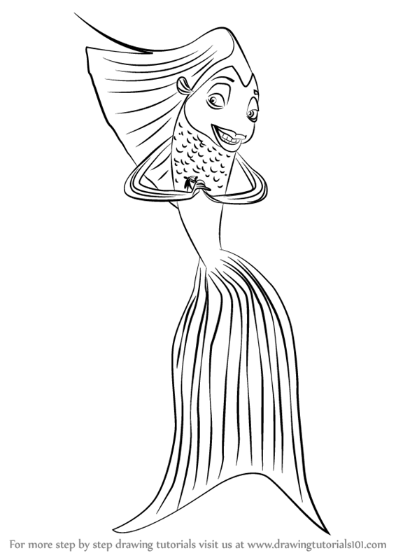 Learn how to draw angie from shark tale shark tale step for Shark tale coloring pages