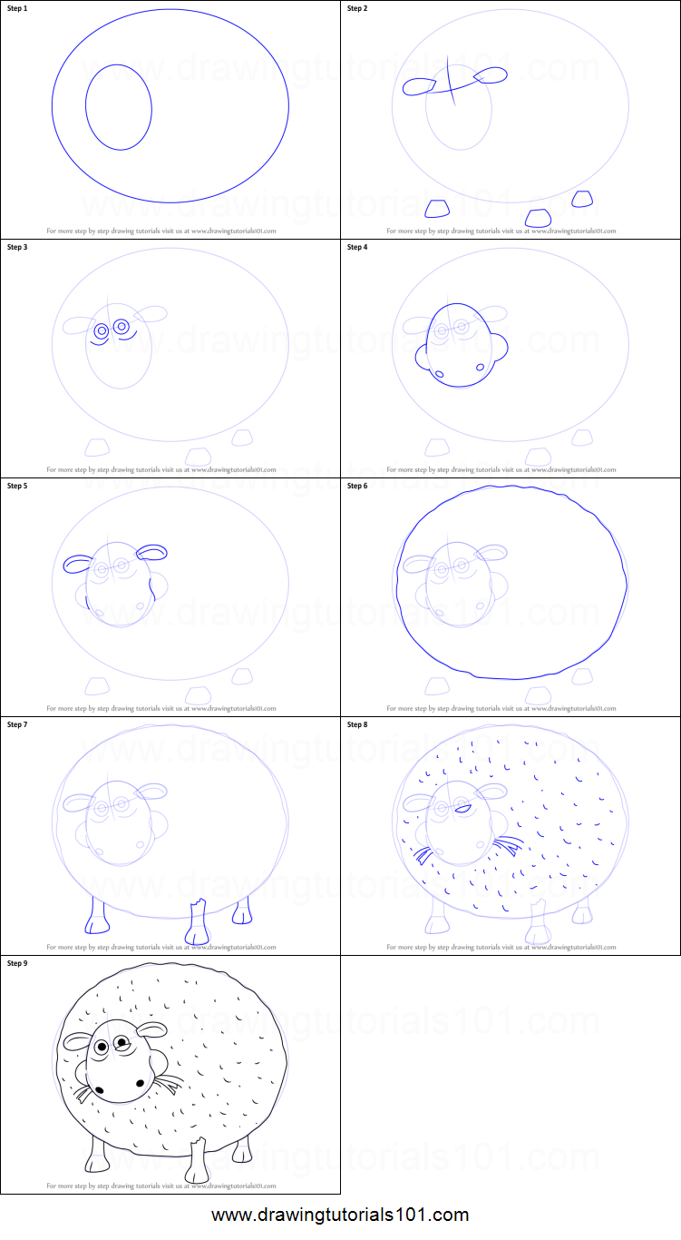 How To Draw Shirley From Shaun The Sheep Printable Step By Step