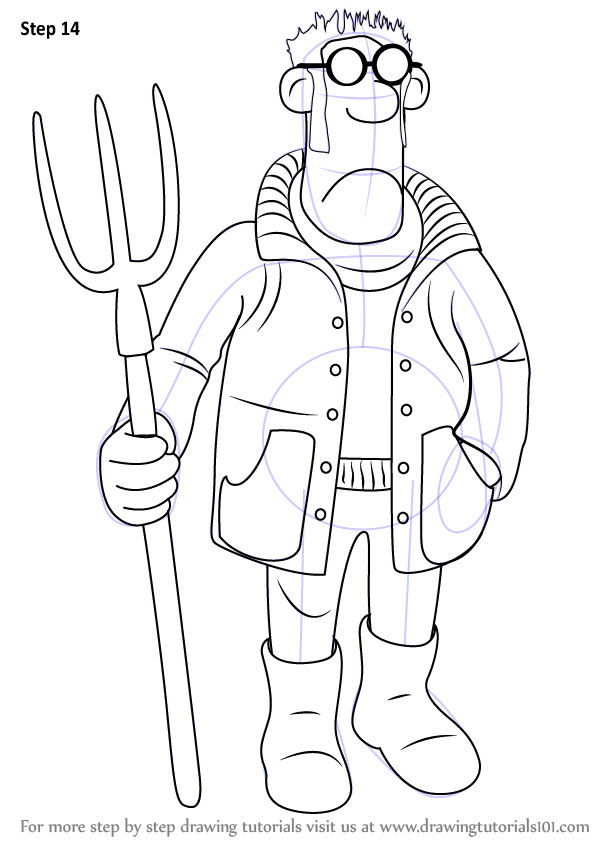 How To Draw The Farmer From Shaun The Sheep Step By Step on Old Farm Coloring Pages Sketch Templates