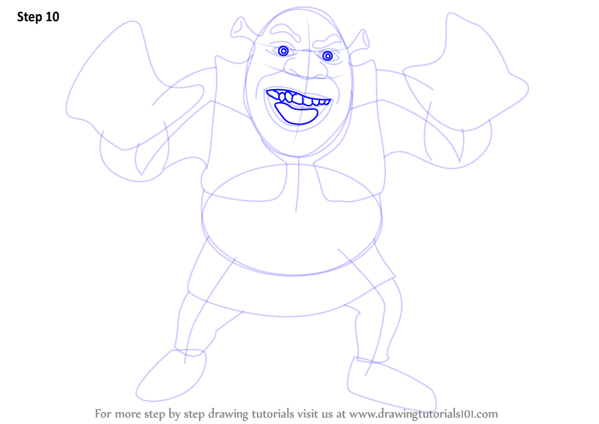 learn how to draw shrek grene ogre  shrek  step by step   drawing tutorials