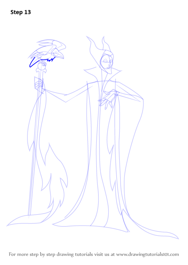 Step By Step How To Draw Maleficent From Sleeping Beauty