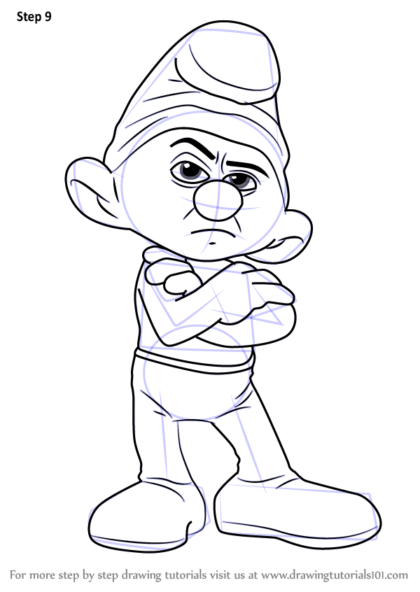 Learn how to draw grouchy smurf from smurfs the lost for Grumpy smurf coloring pages