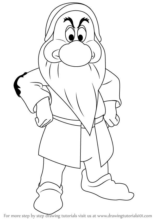 how to draw grumpy dwarf from snow white and the seven dwarfs