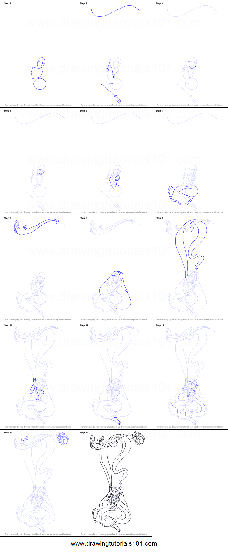 How to Draw Rapunzel from Tangled printable step by step ...