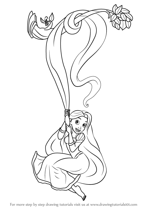 Learn How To Draw Rapunzel From Tangled Tangled Step By Step Drawing Tutorials