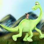 How to Draw Spot riding Arlo from The Good Dinosaur