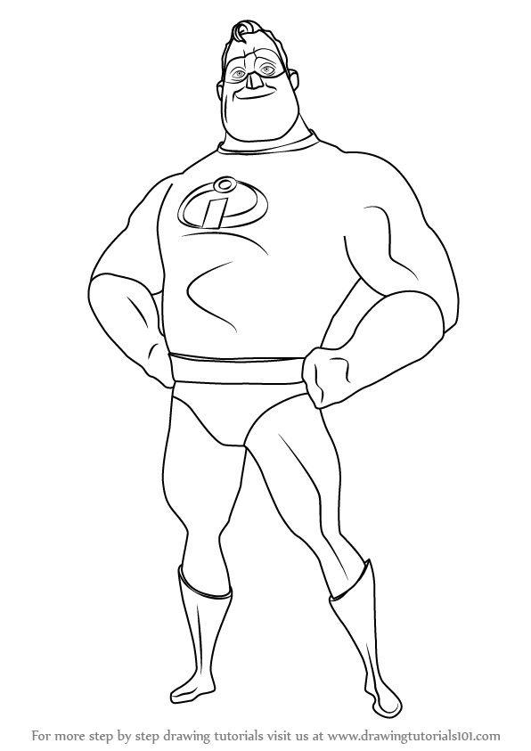Learn how to draw mr incredible from the incredibles the for Mr incredible coloring pages