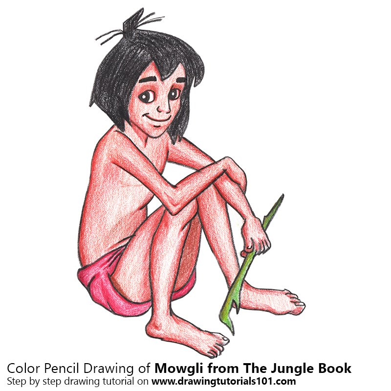Mowgli from The Jungle Book Color Pencil Drawing