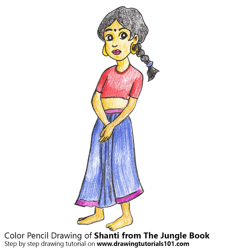 Shanti from The Jungle Book Colored Pencils - Drawing Shanti from ...