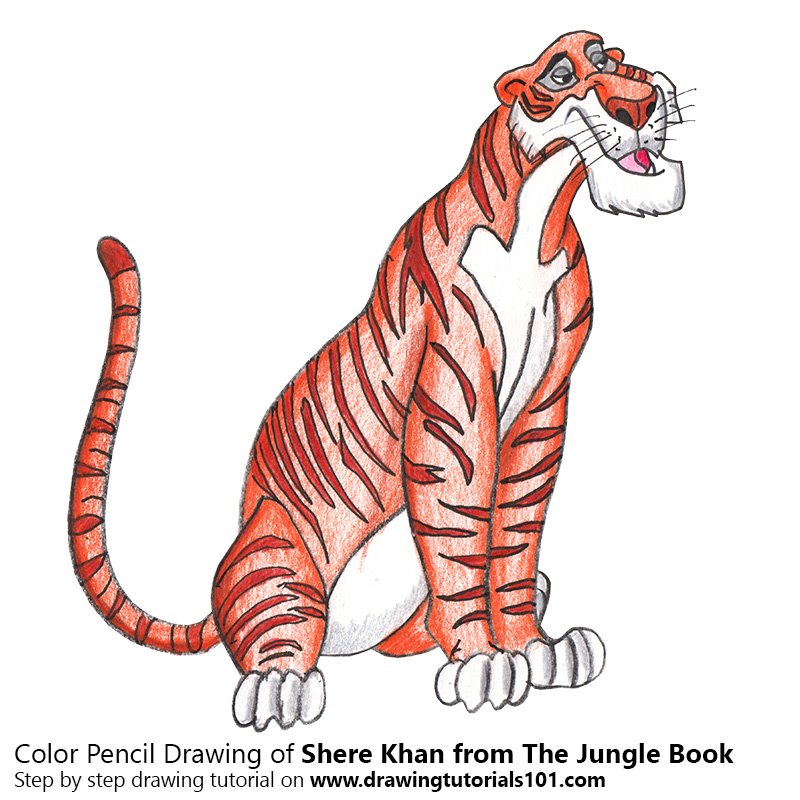 Shere Khan from The Jungle Book Color Pencil Drawing