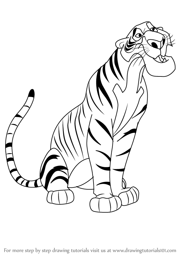 Learn how to draw shere khan from the jungle book the jungle book step by step drawing tutorials