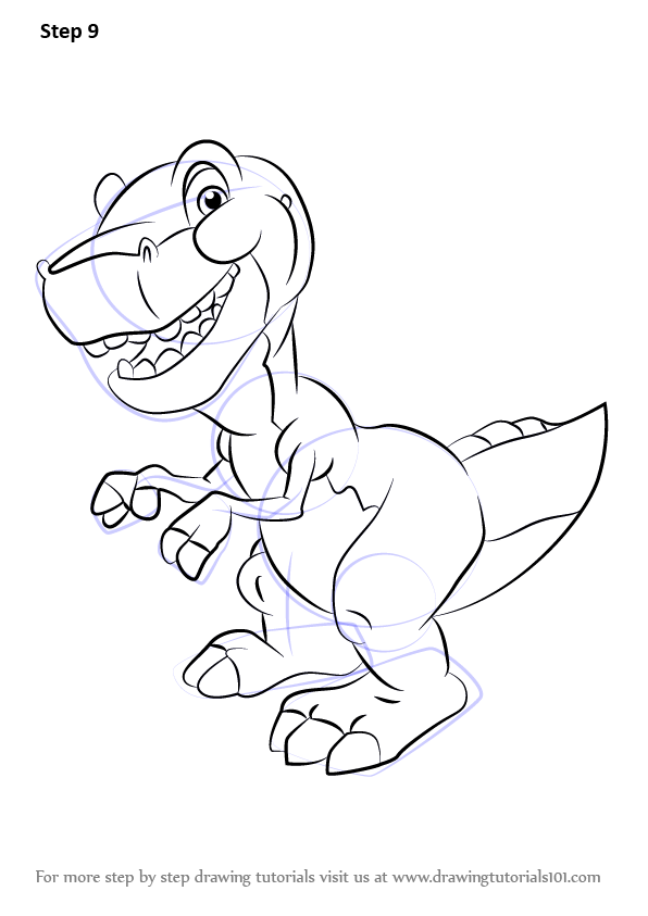 Step by Step How to Draw Chomper from The Land Before Time