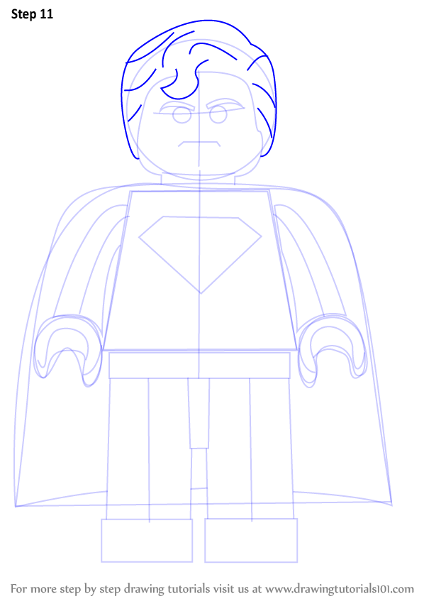 step by step how to draw superman from the lego movie