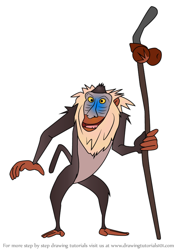 how to draw rafiki from the lion king