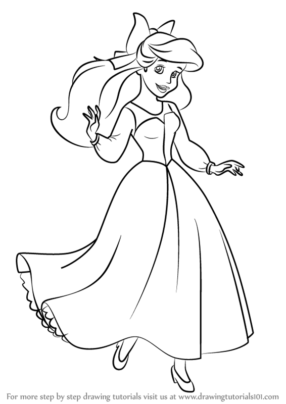 How to draw ariel as human from the little mermaid