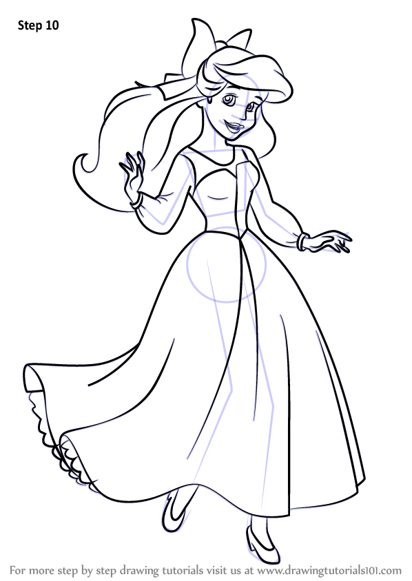 Learn how to draw ariel as human from the little mermaid for Ariel human coloring pages