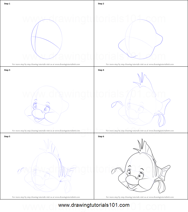 how to draw a little fish step by step