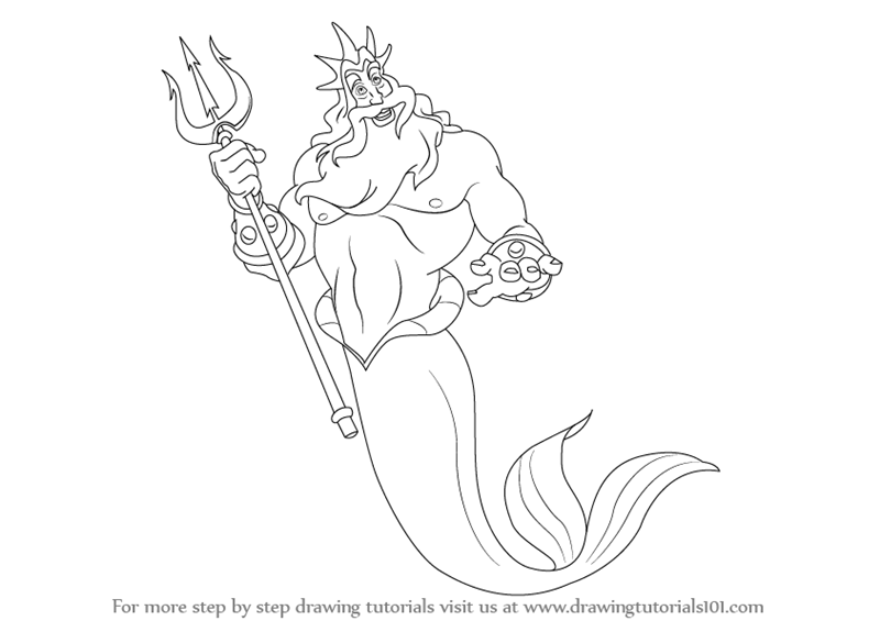 learn how to draw king triton from the little mermaid the little