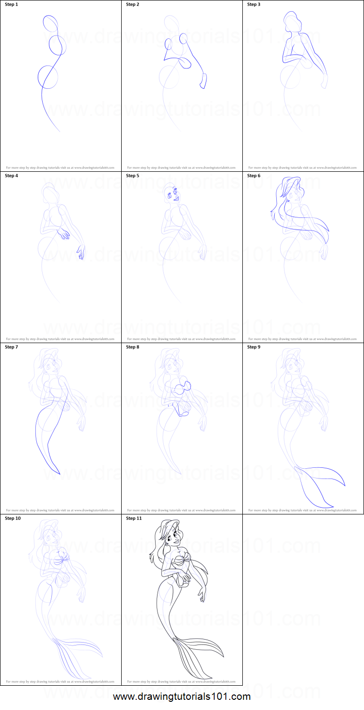 How to Draw Princess Ariel from The Little Mermaid ...