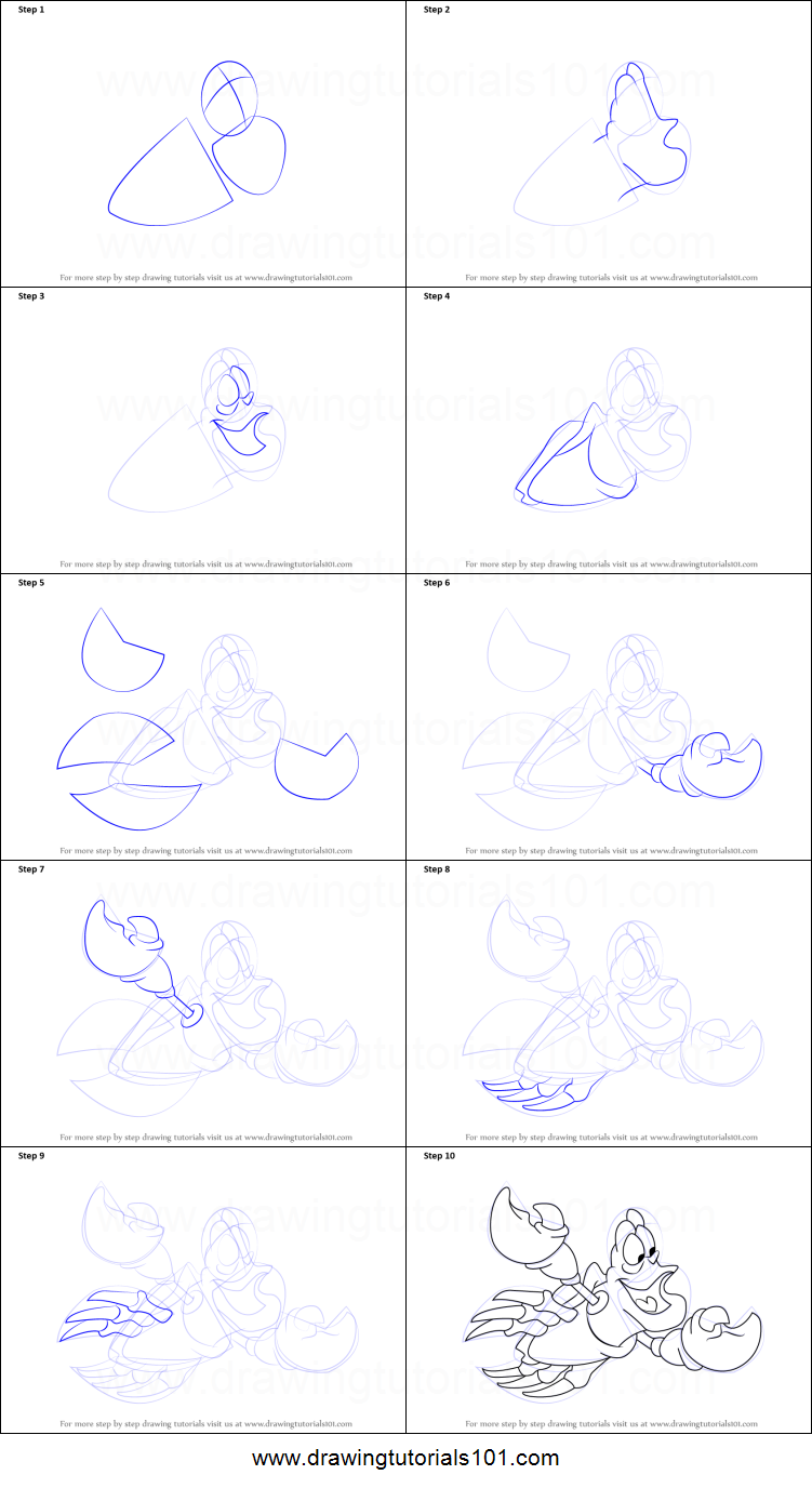 How to Draw Sebastian from The Little Mermaid printable ...  How to Draw Seb...