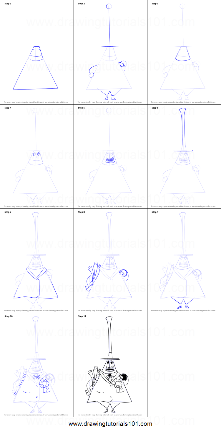 How to Draw Mayor of Halloween Town from The Nightmare Before ...