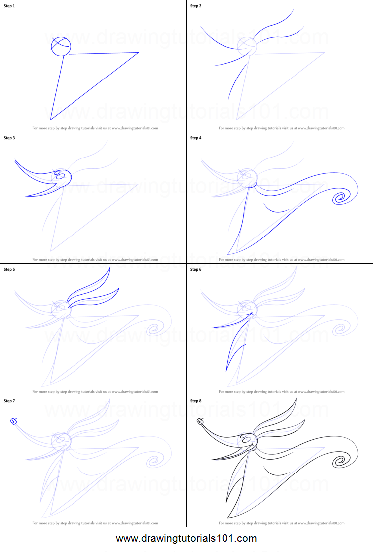 How to Draw Zero from The Nightmare Before Christmas printable ...