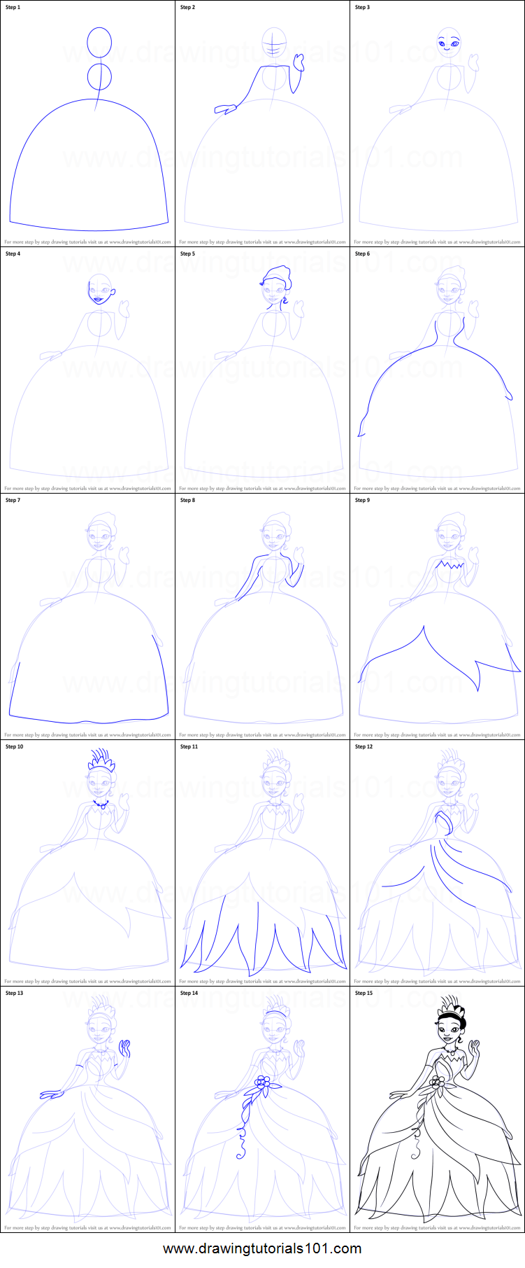 How to Draw Tiana from The Princess and the Frog printable ...