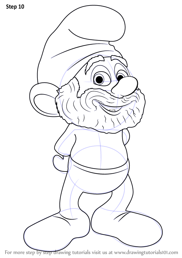 Learn How To Draw Papa Smurf From The Smurfs The Smurfs