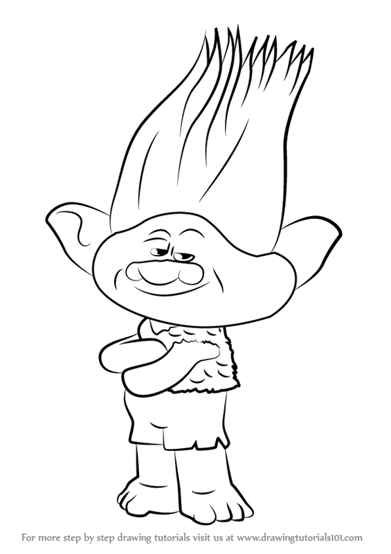 Learn how to draw branch from trolls trolls step by step for Branch trolls coloring pages