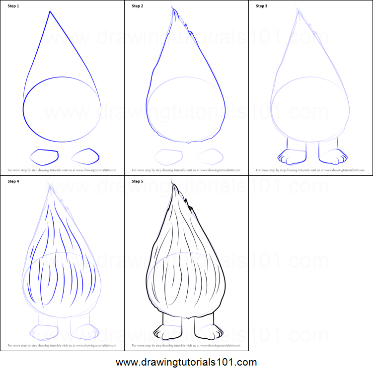 How to draw fuzzbert from trolls printable step by step for Fuzzbert coloring pages