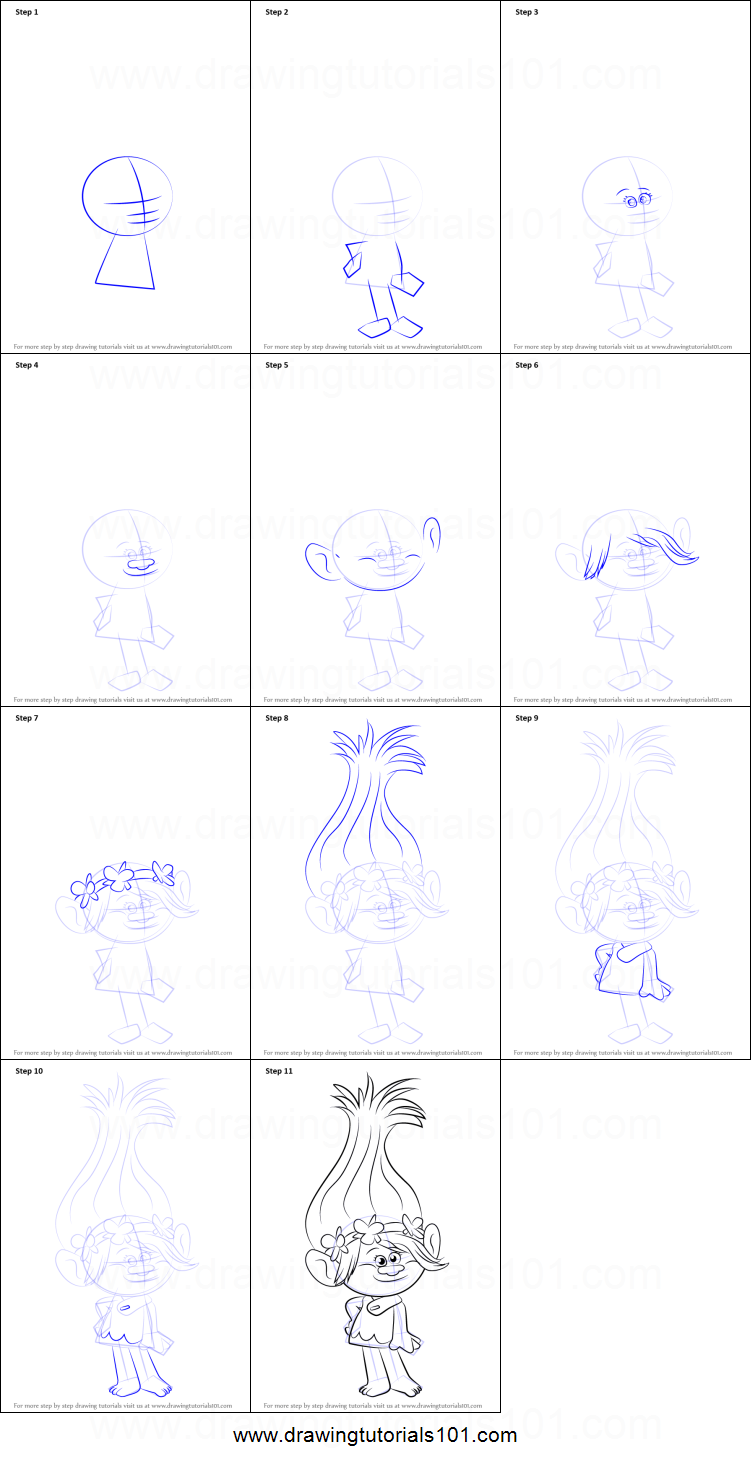 How to draw princess poppy from trolls printable step by for Poppy drawing step by step