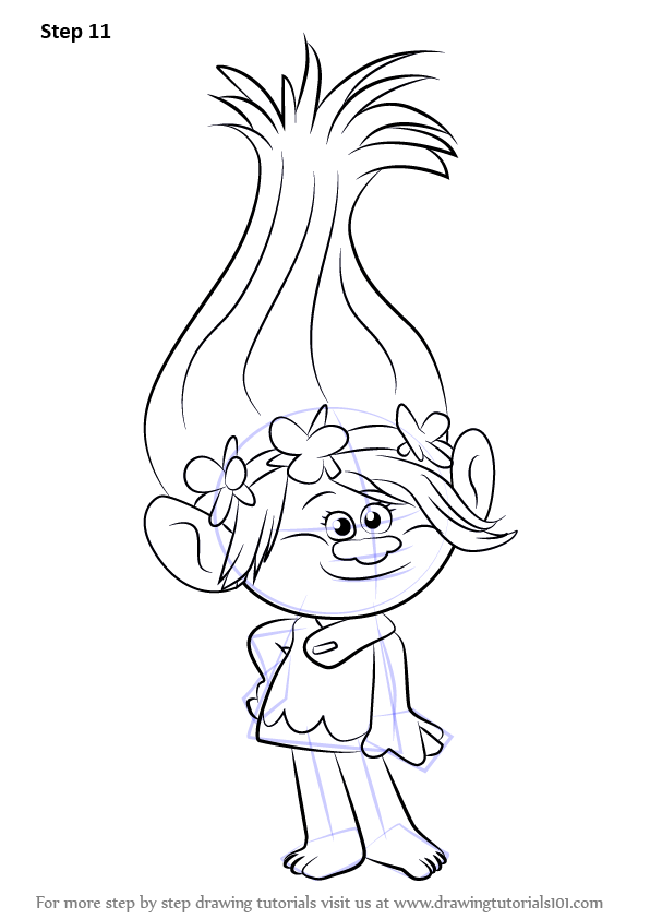 Learn how to draw princess poppy from trolls trolls step for Trolls coloring pages poppy