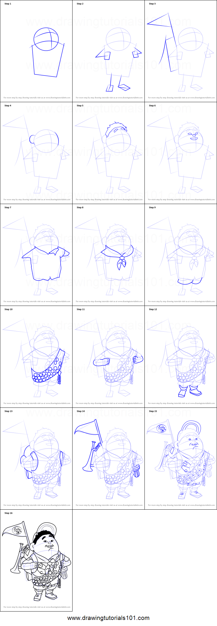 how to draw russell wilderness explorer from up printable step by